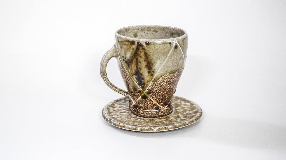 Wood Fired Salt Glazed Tea Cup, Fern & Bow in Green
