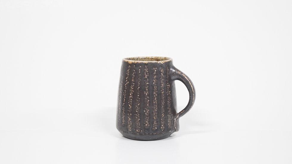 Wood Fired Salt Glazed Mug, Dark Slip Stripe