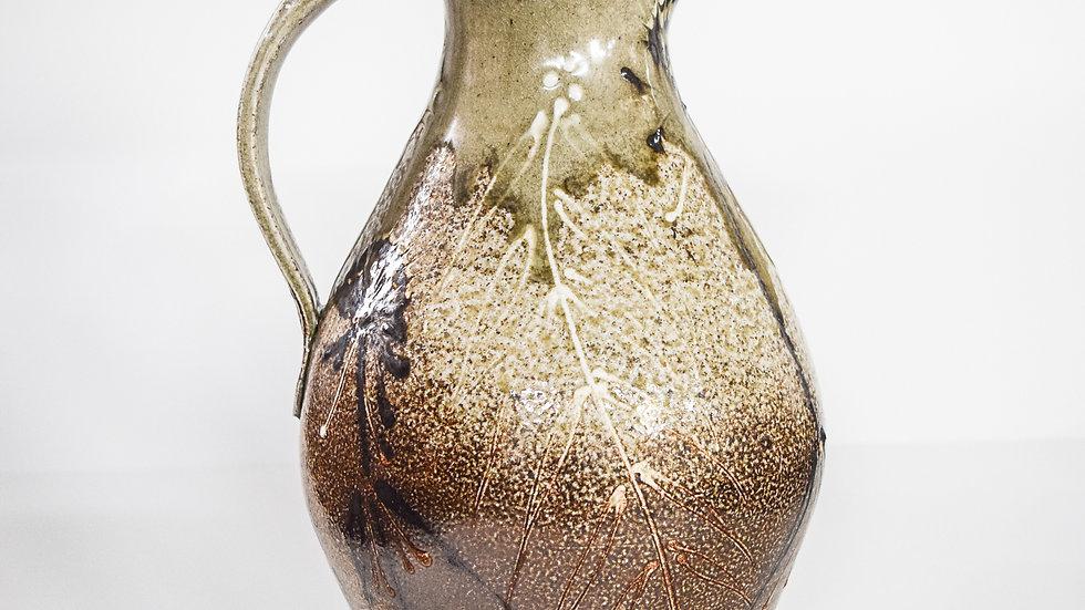 Wood Fired Salt Glazed Pitcher, Dark Fern Design in Green Gold