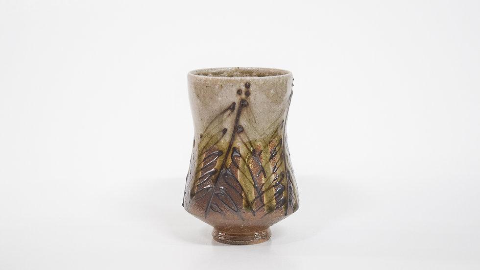 Wood Fired Salt Glazed Juice/Wine Tumbler, Dark Palm Design in Green