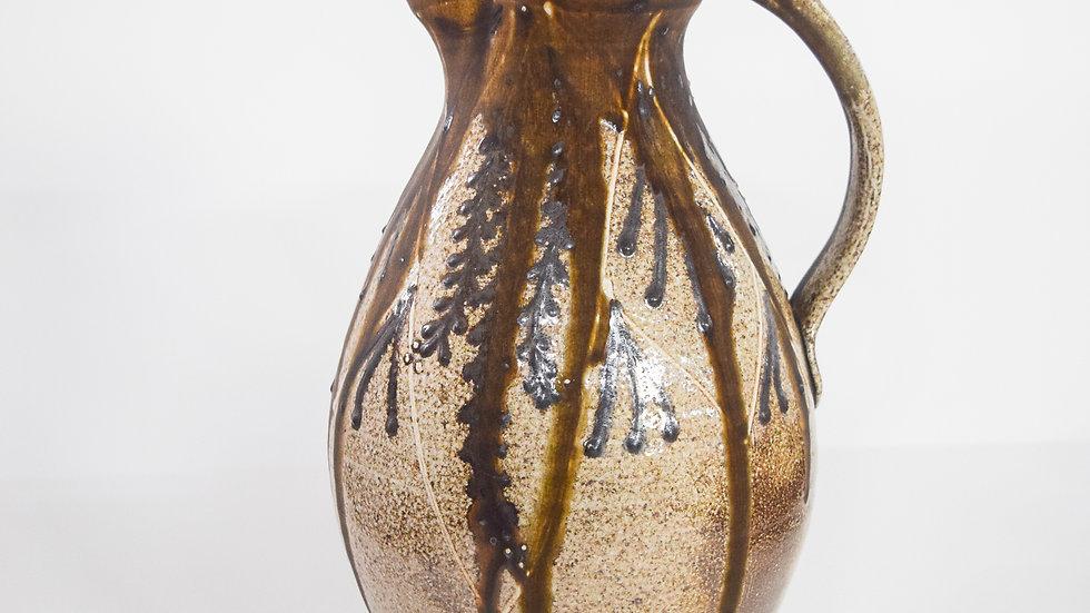 Wood Fired Salt Glazed Pitcher, Dark Fern Design Burgundy