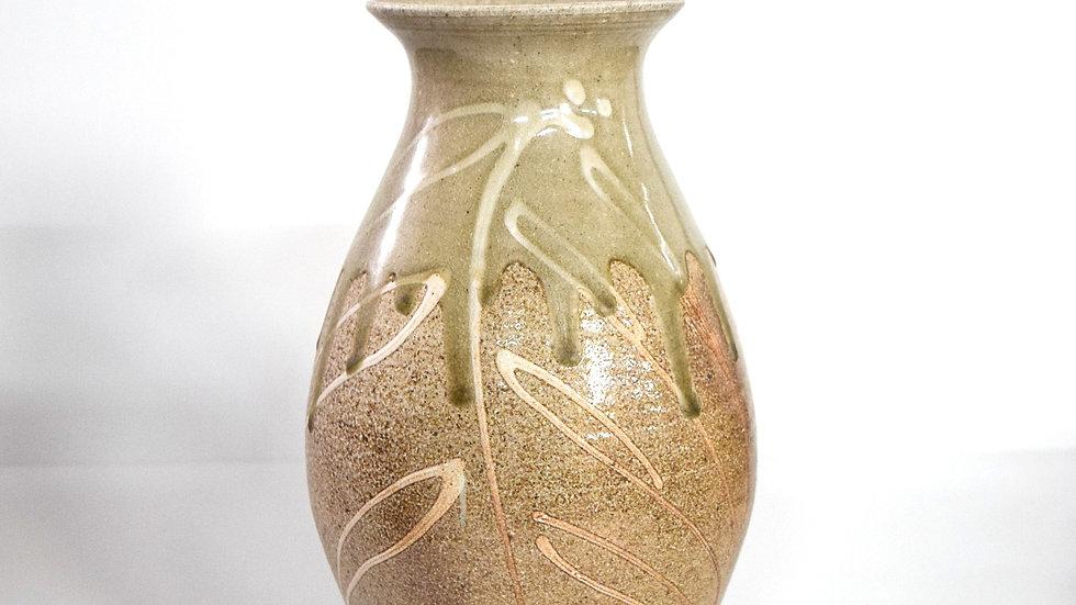 Wood Fired Salt Glazed Vase, White Palm Design in Green