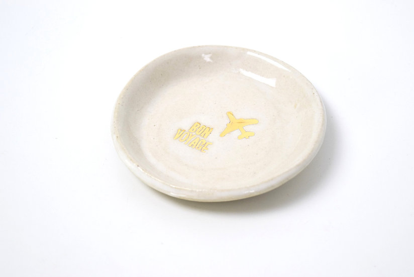 Bon Voyage Jewelry Dish | Hand Painted with 22k Gold