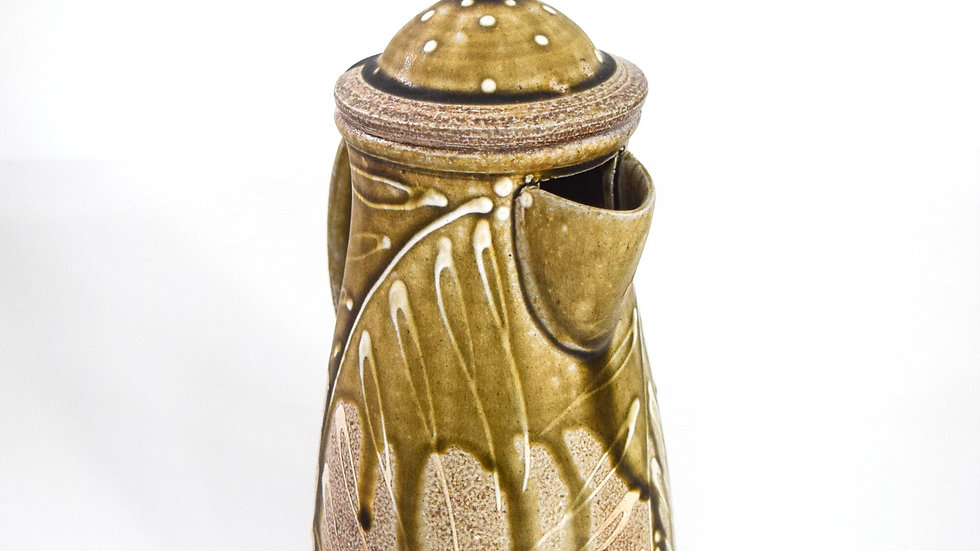 Wood Fired Salt Glazed Coffee Pot, White Fern Design in Green Gold