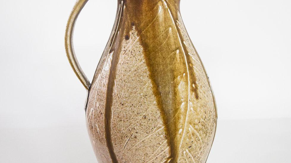 Wood Fired Salt Glazed Pitcher, White Fern Design Burgundy