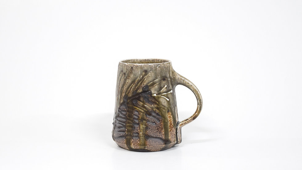 Wood Fired Salt Glazed Mug, Floral Decoration