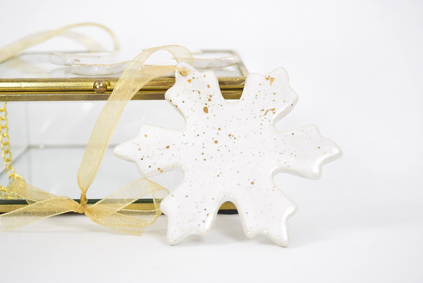 Snowflake Ornament with Gold Splatter | Hand Painted 22k Gold