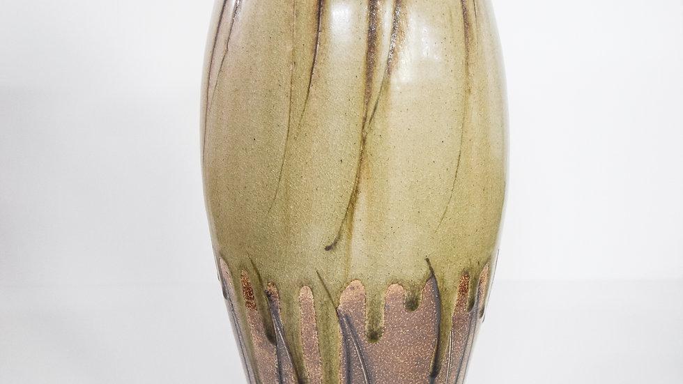 Wood Fired Salt Glazed Lidded Jar, Dark Palm Design in Green