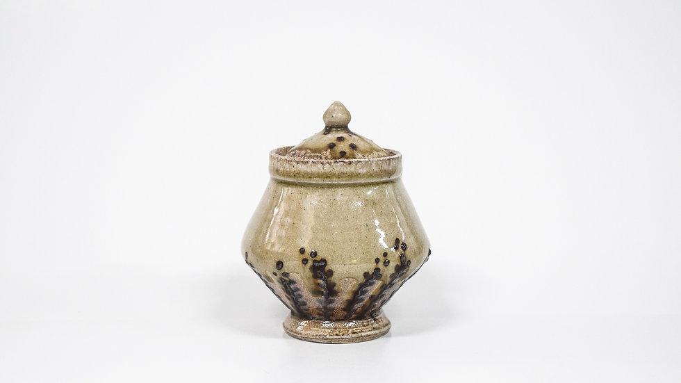 Wood Fired Salt Glazed Sugar Jar, Dark Fern