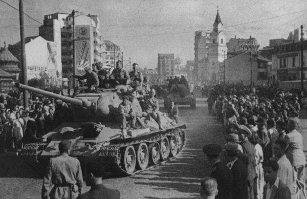 Soviet Army entering Bucharest in August 1944