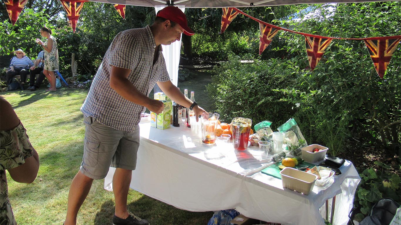 Andy on the Pimm's