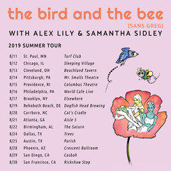 Social Media Tour Poster for The Bird and the Bee Summer 2019 Tour