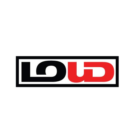 Organizational logo for LOUD, an arts organization supported by the Waterloo Center for the Arts