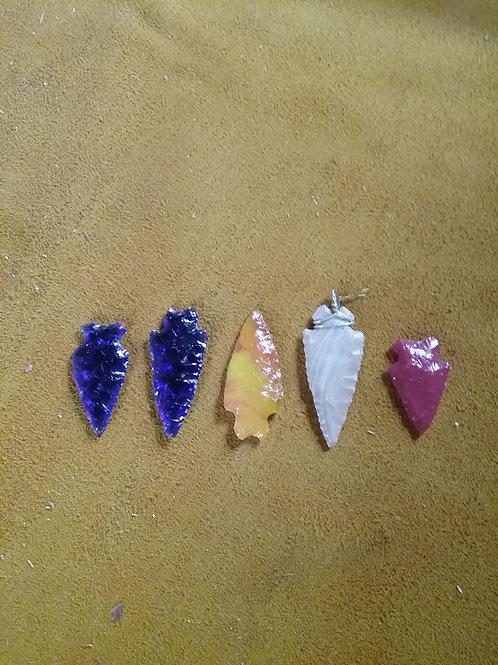 Hand-knapped Glass Arrowheads