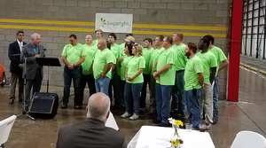 Steven D. Hawkins, Administrator, Tennessee OSHA (second from left) presents The Governor's Award Sugaright employees.