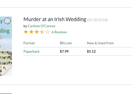Murder in an Irish Wedding #18 on Barnes and Noble Mass paperback bestsellers list.