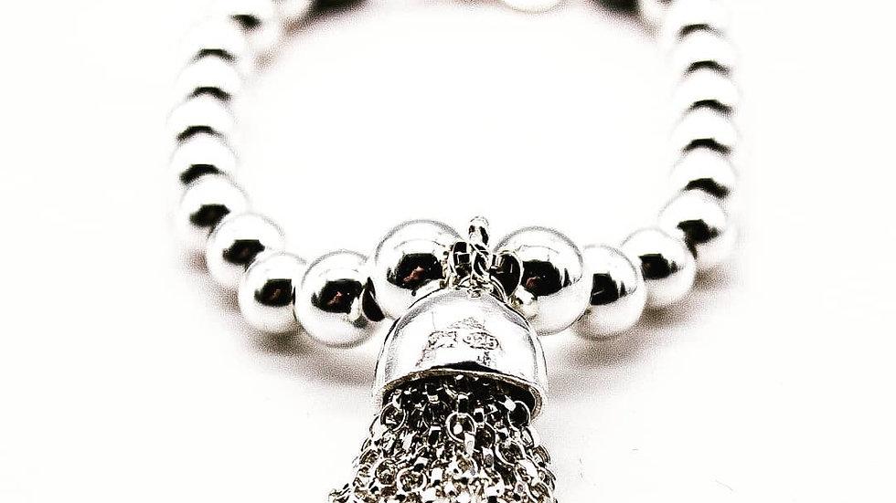 large sterling silver beaded statement tassel bracelet