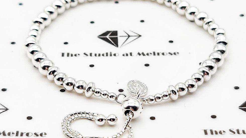 Beaded sterling silver bracelet