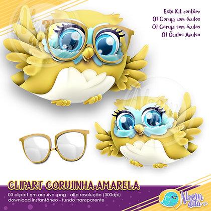 Kit Coruja Amarela - Clipart