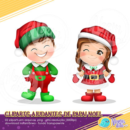 Natal - Ajudantes de Papai Noel - Clipart