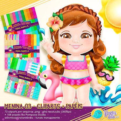 cópia de Pool Party - Menina 03 + Elementos + Papéis - Kit Digital com Cliparts