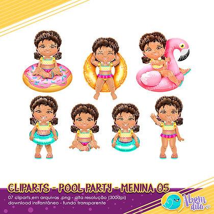 Pool Party - Menina 05 - Kit Digital com Cliparts