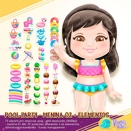 Pool Party - Menina 02 + Elementos - Kit Digital com Cliparts