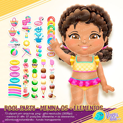 Pool Party - Menina 05 + Elementos - Kit Digital com Cliparts