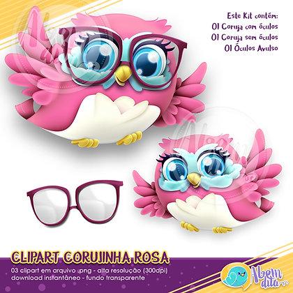 Kit Coruja Rosa - Clipart