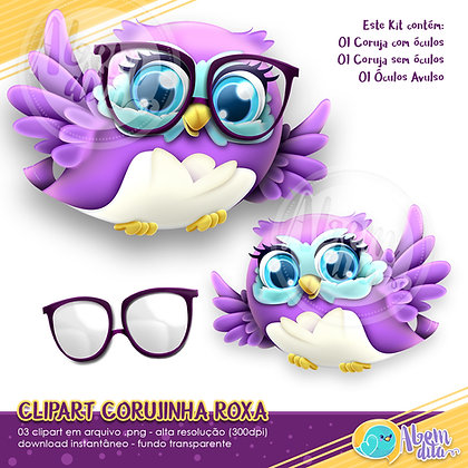 Kit Coruja Roxa - Clipart