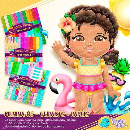 Pool Party - Menina 05 + Elementos + Papéis - Kit Digital com Cliparts