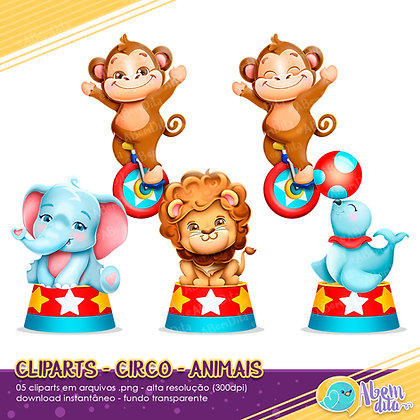 Circo - Animais - Kit Digital com Cliparts