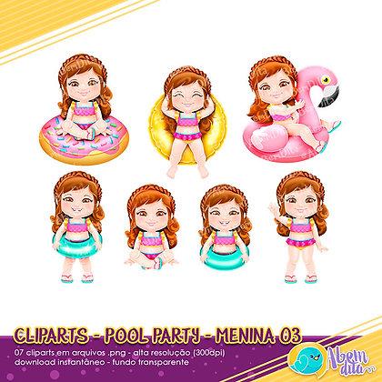 Pool Party - Menina 03 - Kit Digital com Cliparts