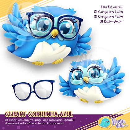 Kit Coruja Azul - Clipart