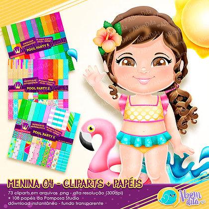Pool Party - Menina 04 + Elementos + Papéis - Kit Digital com Cliparts