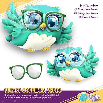 Kit Coruja Verde - Clipart