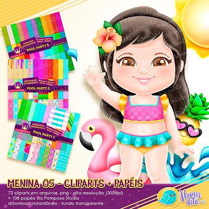 Pool Party - Menina 02 + Elementos + Papéis - Kit Digital com Cliparts