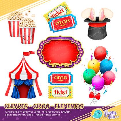 Circo - Elementos - Kit Digital com Cliparts