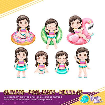 Pool Party - Menina 02 - Kit Digital com Cliparts