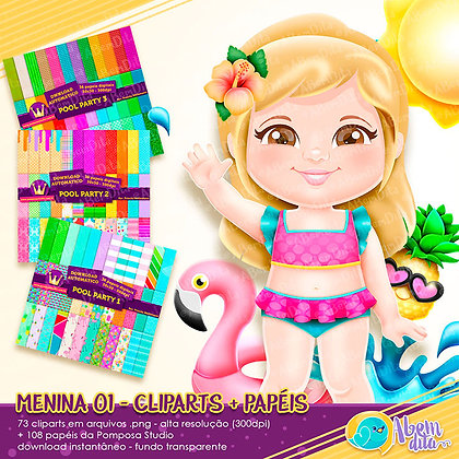 Pool Party - Menina 01 + Elementos + Papéis - Kit Digital com Cliparts