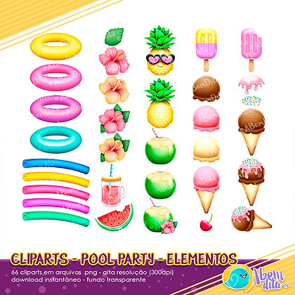 Pool Party - Elementos - Kit Digital com 66  Cliparts