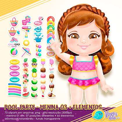Pool Party - Menina 03 + Elementos - Kit Digital com Cliparts