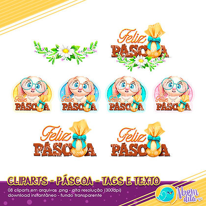 Páscoa - Tags e Texto - Kit Digital com Cliparts