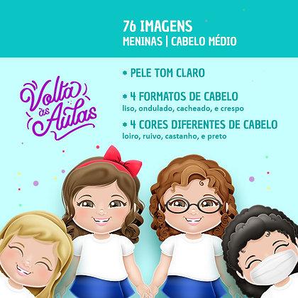 Volta às Aulas - Meninas - Pele Clara - Cabelo Médio