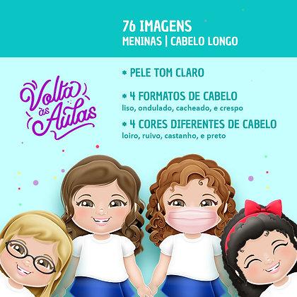 Volta às Aulas - Meninas - Pele Clara - Cabelo Longo