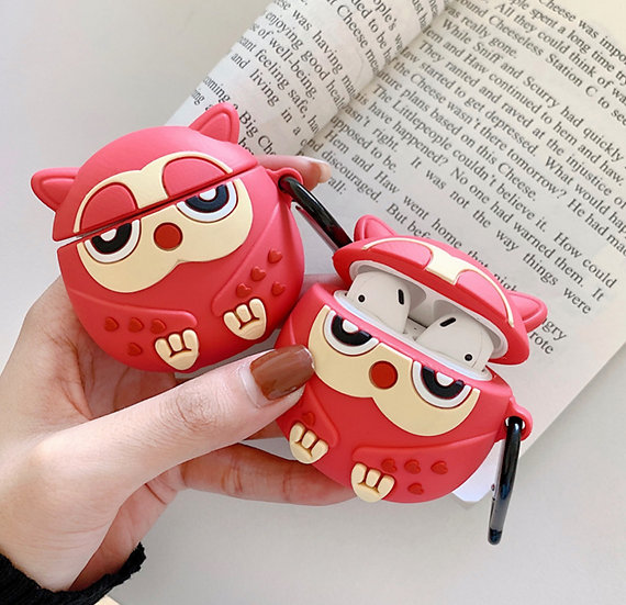 Pink Heart Owl Airpods Case