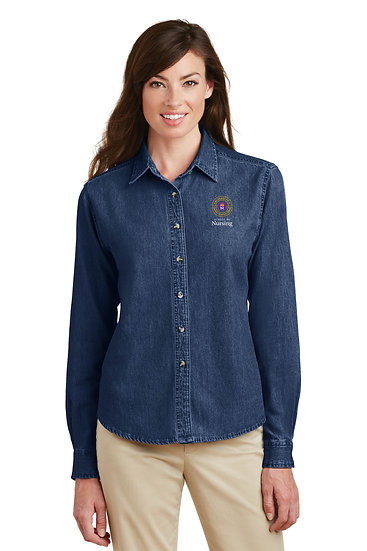 UNW Womens Port & Company® Longsleeve Denim Shirt
