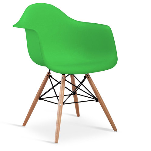 Ludstone Plastic (PP) Chairs with Solid Beech Legs Green