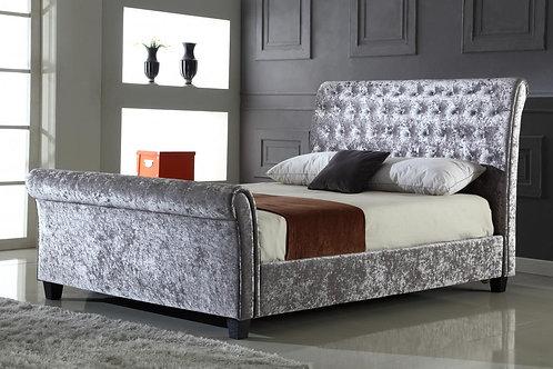 Serenity Crushed Velvet King Size Bed Silver