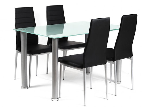 Tatum Frost Dining Set Silver 4 Chairs